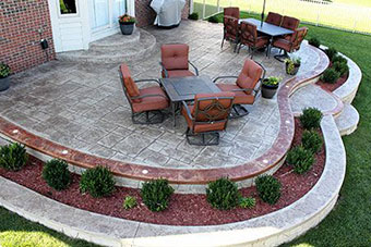 The Above Patio Has Had The Two Tone Treatment To Match The Brick Of The  Home And The Outdoor Furniture. This Application Of Stamped Concrete  Accentuates ...