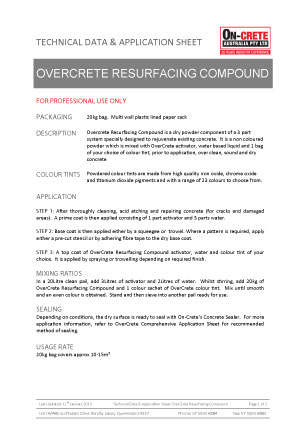 Overcrete Resurfacing Technical Data